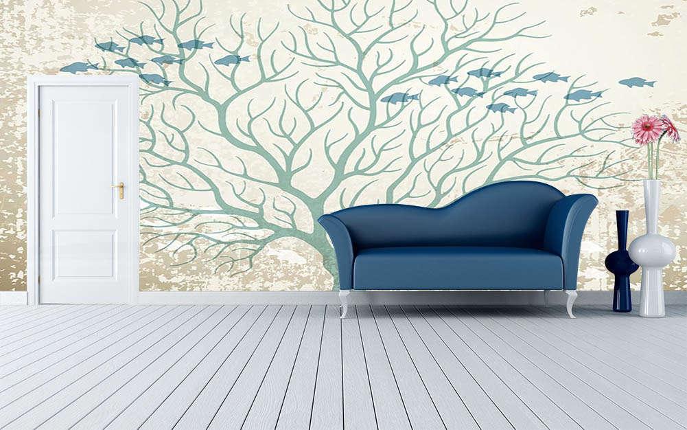 Fish In Art Art Art Tree 3D Full Wall Mural Photo Wallpaper Printing Home Kids Decor 9216dd