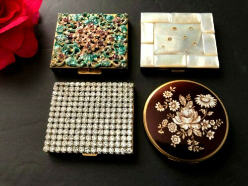 Vintage lot of 4 Compacts, mother of pearl, rhines