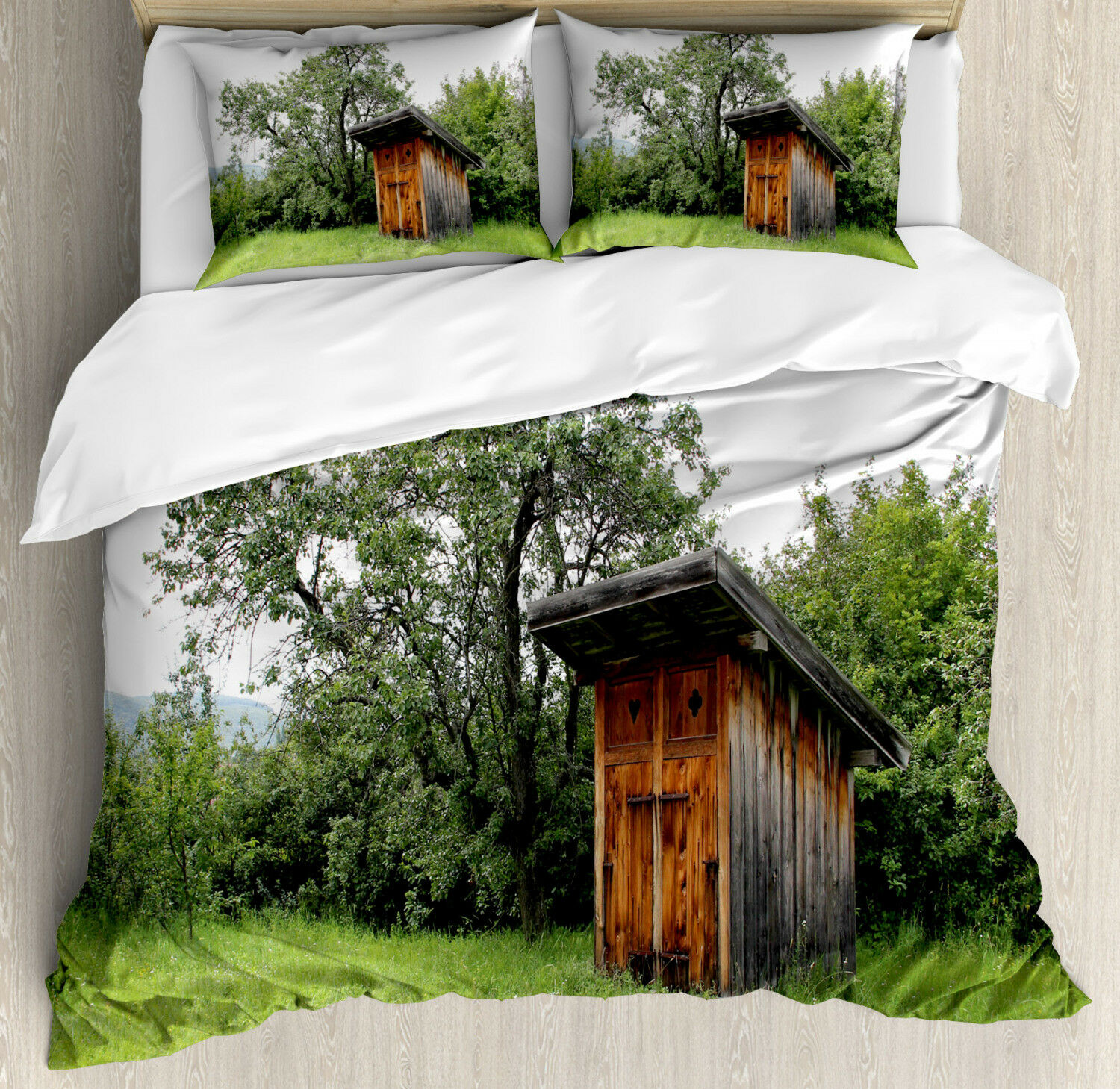 Outhouse Duvet Cover Set with Pillow Shams Wooden Hut in Forest Print