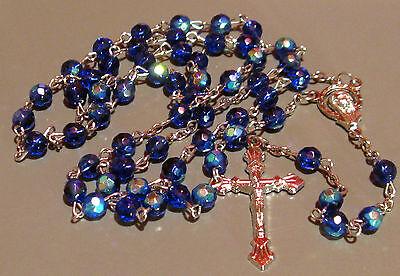 Blue Glass Bead 6MM Aurora Borealis Rosary +White Vinyl Zip Case