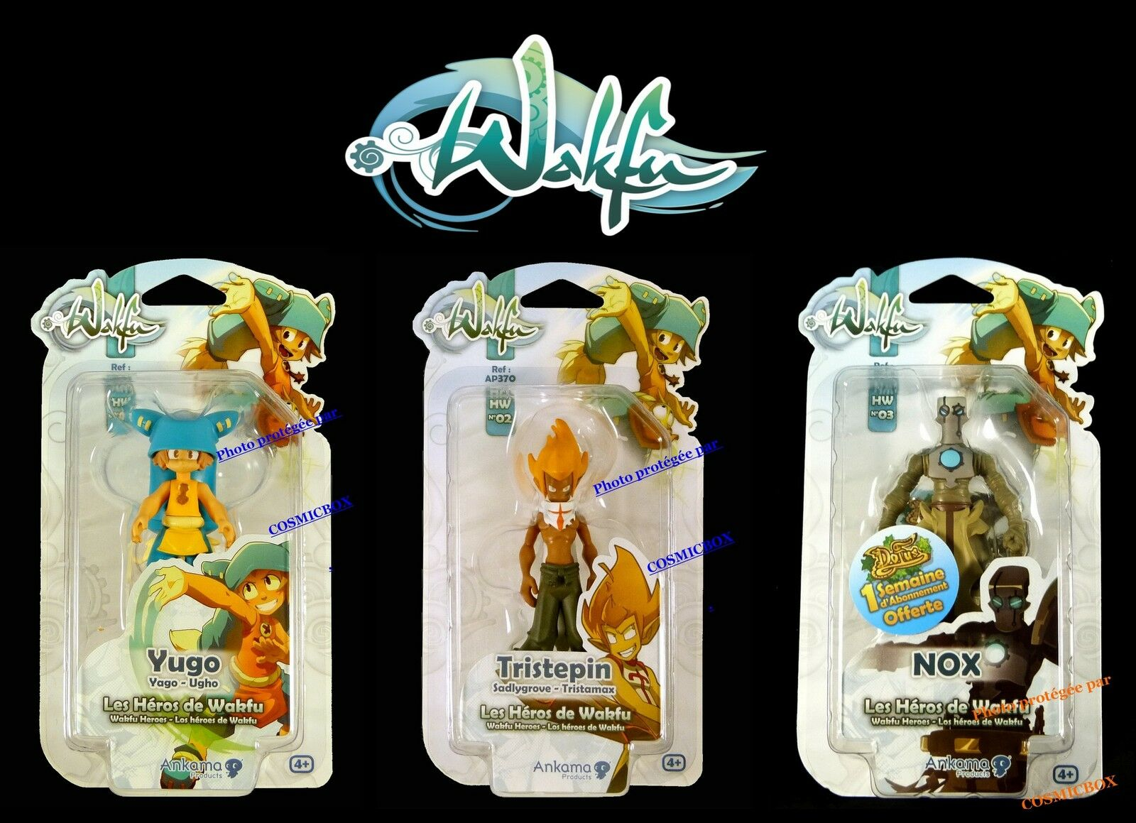 Prize of 3 actions figures WAKFU hw YUGO Yago SADLYGROVE NOX DOFUS by Ankama new