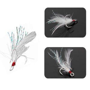 20pcs Fishing Hooks Treble With Feather For Minnow Fishing Lures Crankbaits sz09