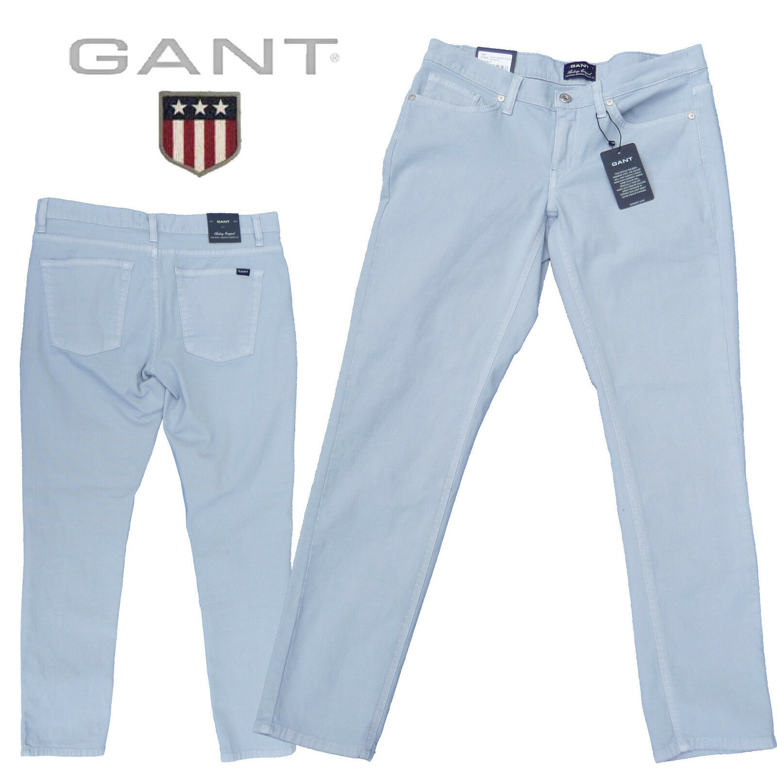 % Gant - Jeans Audrey cropped classic canvas pant (7 8 lang) in ice Blau 410475