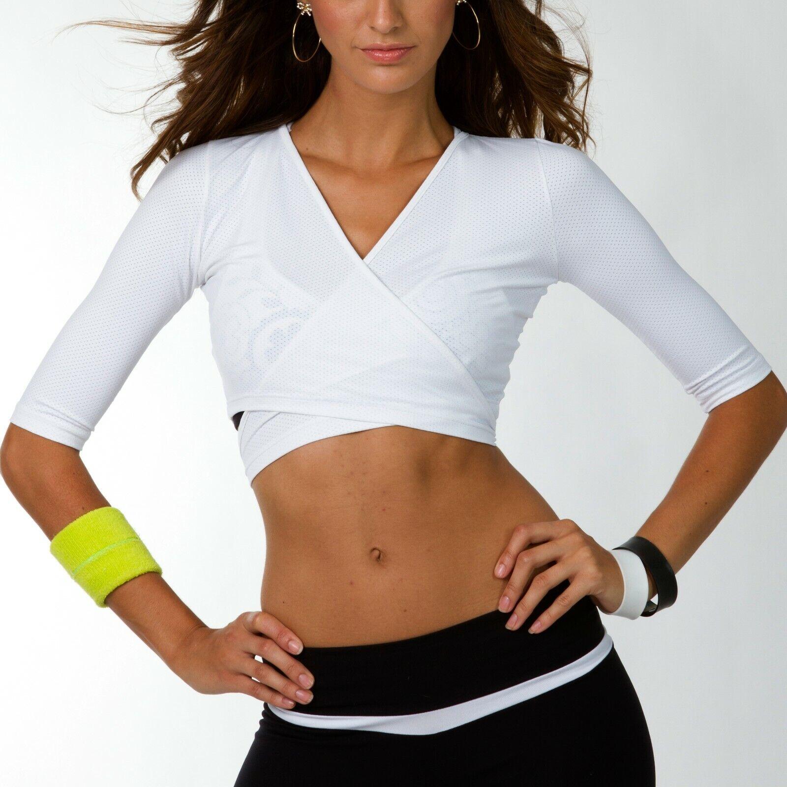 Sports Wrap Cropped Mesh Top XS-S White Womens Brazilian Supplex Athletic Gym
