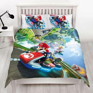Nintendo-Super-Mario-Gravite-Set-Housse-de-Couette-Double-Reversible-Enfants