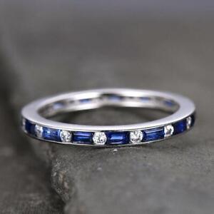 2ct-Baguette-Cut-Blue-Sapphire-Eternity-Wedding-Band-Ring-14k-White-Gold-Finish