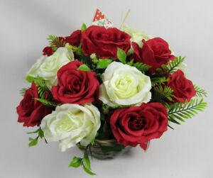 Artificial Silk Flower Basket Arrangement Christmas Big Rose Xmas