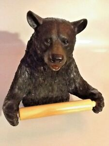 NEW-Black-Bear-Toilet-Tissue-Wall-Mounted-Toilet-Paper-Holder-cabin-cottage