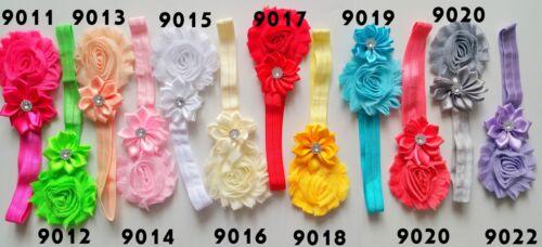 Baby Mädchen Schleife Rose Strass Blume Haarband Stirnband Kopfband Taufe