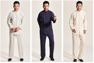 2017 new beige chinese  men's cotton/linen kung fu suit pajamas S-3XL