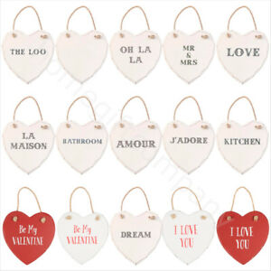 Details About Large Wooden Hanging Hearts Vintage Shabby Chic Wall Plaque Home Decoration Gift
