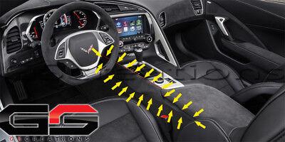 C7 Stingray Z06 Grand Sport Corvette Black Suede Armrest w// Blue Stitching