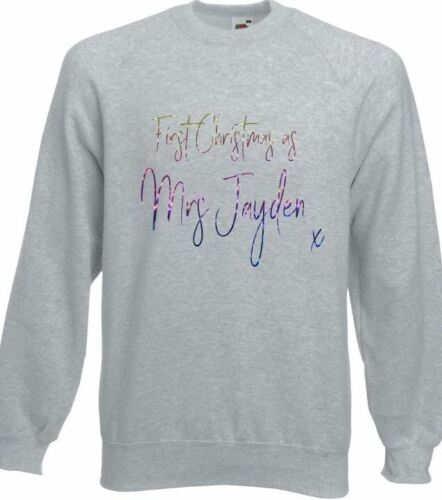 First 1st Christmas as Mrs your surname xmas jumper sweater sweatshirt rainbow