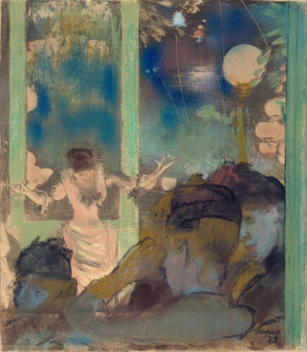 Edgar Degas Mademoiselle Bécat at the Cafe Ambassa Giclee Canvas Print Paintings