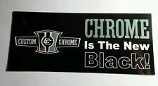 CC CUSTOM CHROME IS THE NEW BLACK SILVER METALLIC LETTERS CAR RACING 3x7 STICKER
