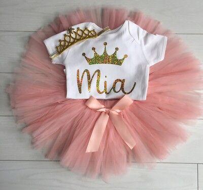 Baby Girls Personalised 1st First Birthday Outfit Tutu Skirt Cake Smash Blush