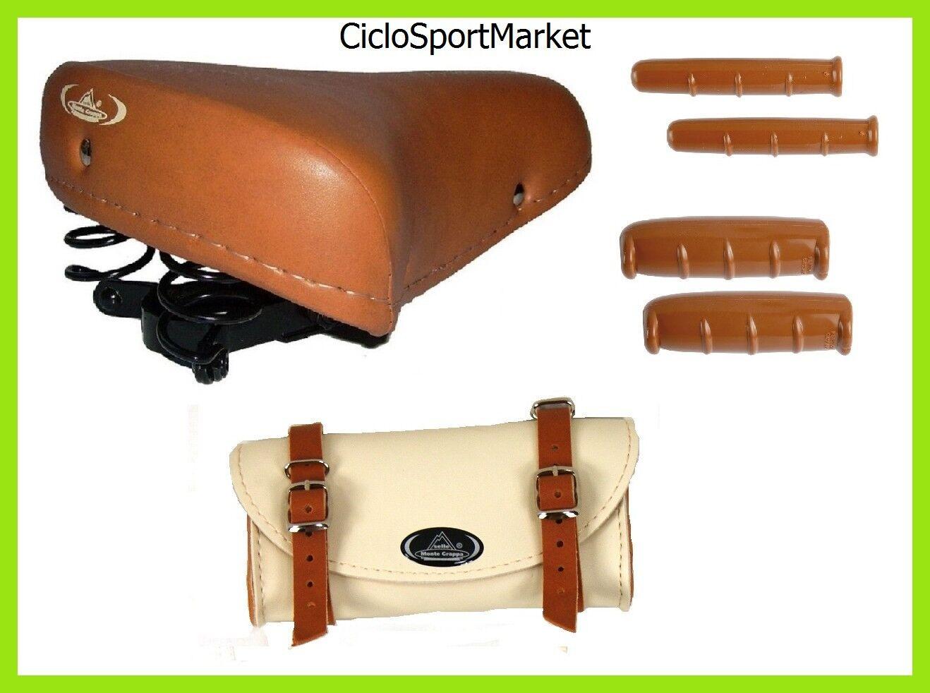 Saddle MONTEGRAPPA with Springs + Bag + Grips + grips Brake Bike