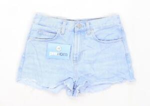 Womens-Topshop-Blue-Denim-Shorts-Size-6-L1