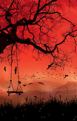 Framed Silhouette Print - Tree and Tree Swing with a Red Sky (Picture Poster)