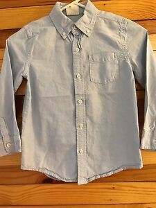 *CRAZY 8* Boys Solid Blue Long Sleeve Button Down Shirt Size S 5-6
