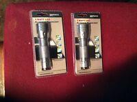Lot Of 2-lightmates 1 Watt Led Gray Or Silver Colored Aluminum Flashlight