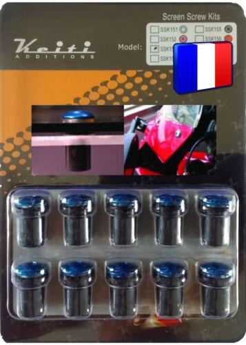 Kit Keiti® 10 boulons M5*15 alu bleus anodisés universel pour bulle pare-brise