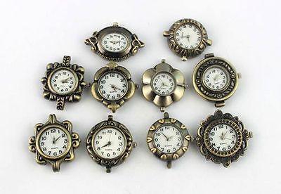 10PCS Mixed Lots Antiqued Bronze Watch Face Charm Pendants #20960