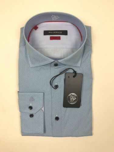 """Slim Fit -Pale Blue Spotted Shirt Roy Robson *NEW WITH TAGS* RRP £60 16.5/"""""""