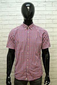 Camicia-Uomo-TOMMY-HILFIGER-Taglia-L-Maglia-Polo-Shirt-a-Quadretti-Manica-Corta
