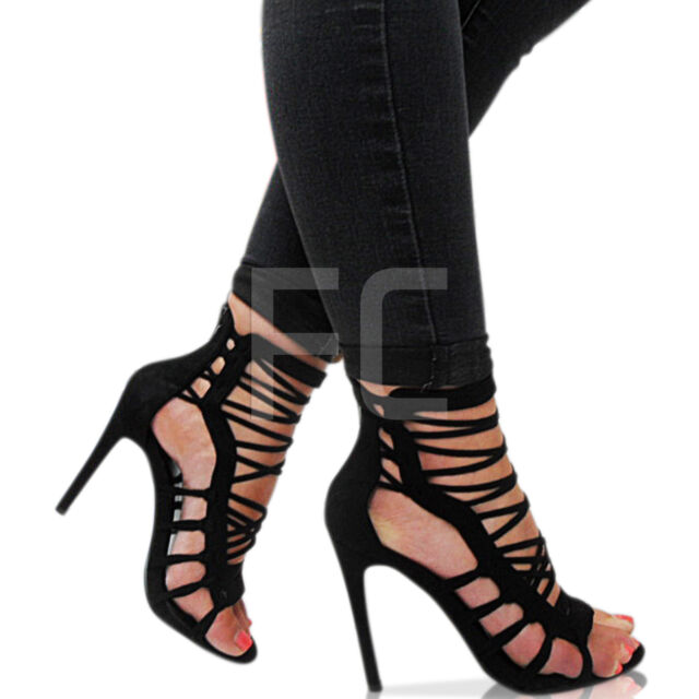 NEW WOMENS LADIES PEEP TOE HIGH HEEL CUT OUT STRAPPY SHOES PARTY SANDAL SIZE ZIP