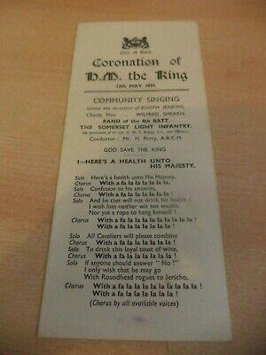 CITY OF BATH CORONATION 1930S OFFICIAL PROGRAMME MAGAZINE KING GEORGE VI 1937