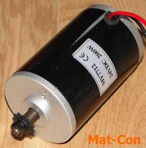 """DC Elektromotor ZY7712 MY7712 200W 24V, 0,55Nm, 3500U/min, Welle 8mm Ritzel 1/4"""""""