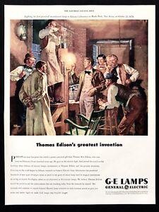 1947 Vintage Impresión Anuncio 12.2ms Ge General Electric Lámparas Thomas Edison