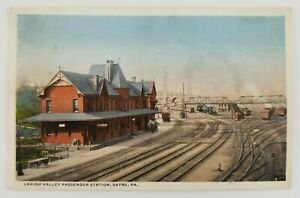 Postcard-Lehigh-Valley-Passenger-Train-Station-Depot-Sayre-Pennsylvania-1916