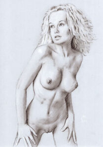 Female-Nude-ORIGINAL-DRAWING-Charcoal-Pencil-fine-Art-realism-naked-woman
