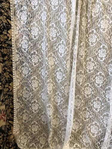"Laura Ashley White Scottish Lace Curtain Panelling 56""wide yardage off the roll"
