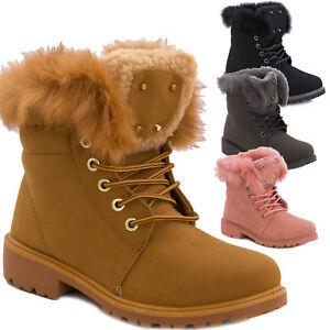 Stivali-donna-scarponcini-scarpe-stringati-pelliccia-anfibi-caldi-nuovi-W8120