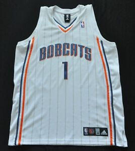new arrival f2035 badfd Details about STEPHEN JACKSON Charlotte Bobcats Adidas Authentic Jersey  White Pinstripe 48 XL