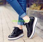 Womens Brogues Oxfords Flats Platform Creeper Lace Up Retro Wingtip Pumps Shoes