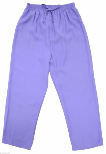 Womens 12-28 Lilac Crepe Pull On Trouser Comfort Fit Elastic Waist Ladies Plus