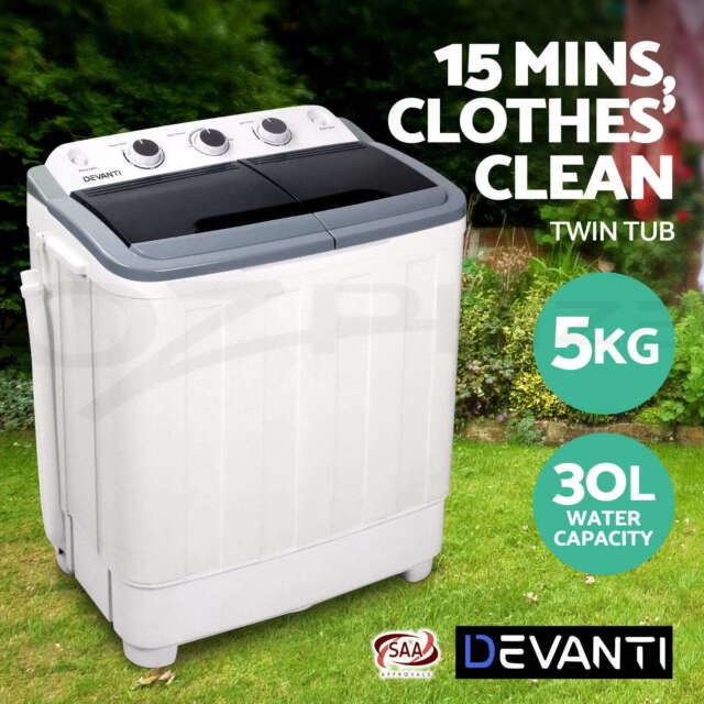 Devanti 5kg Mini Portable Washing Machine Twin Tub Spin Camping Caravan Outdoor