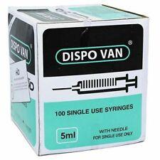 Dispo Van Syringe With Needle 5ml Single Use Syringes 24 Gauge Pack Of 100 Unit