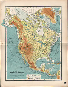 image is loading 1903 map north america physical rocky mountains land