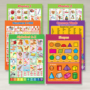 Details about A4 Mixed set 1 - Phonics 1&2, Common Words, Alphabet A-Z,  Numbers 1-100, Shapes