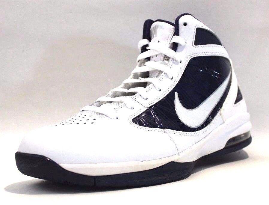 Nike men's Air Max Destiny Basketball Shoes,White/Mid Navy/Mtlc/Silver, Size 8 White/Mid Navy/Metallic Silver