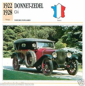 DONNET-ZEDEL-CI-6-1922-1928-CAR-VOITURE-FRANCE-CARTE-CARD-FICHE