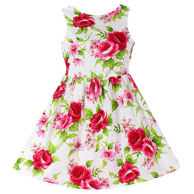 New Girls Dress 100% Cotton Floral  Party Birthday Princess Kids Clothing