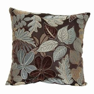 Throw couch pillow decorative jacquard brown w blue taupe - Brown sofa with blue pillows ...