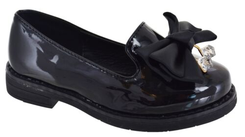 GIRLS CHILDREN KIDS FLAT CHUNKY SOLE BOW LOAFER SCHOOL PARTY SMART SHOES SZ 8-2
