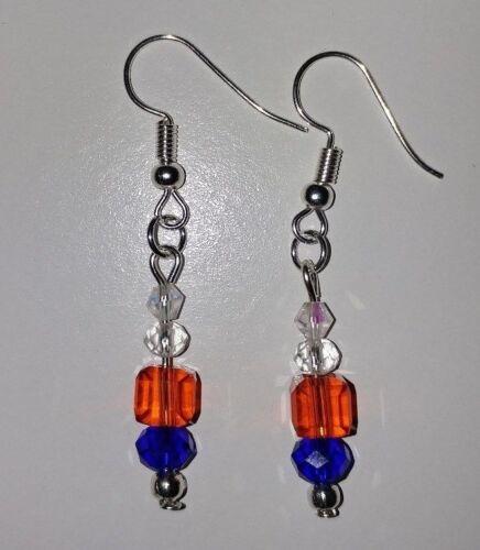 White Blue Glass Beaded Fishhook Earrings #R17 Handmade Patriotic Red